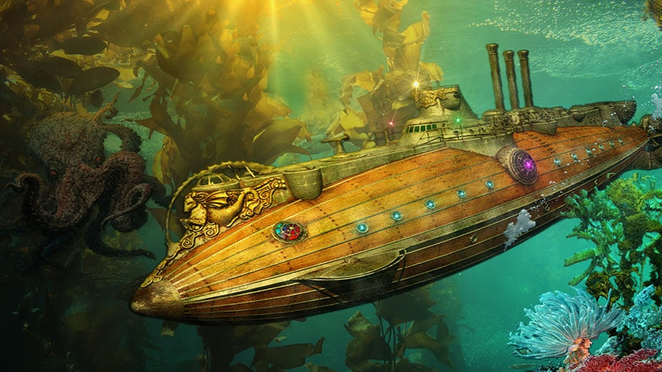 Illustration of the Nautilus, the submarine of 20000 leagues under the sea